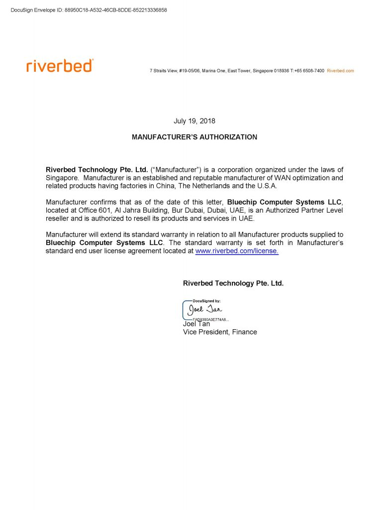 We are pleased to announce our partnership with Riverbed Technology in Dubai UAE
